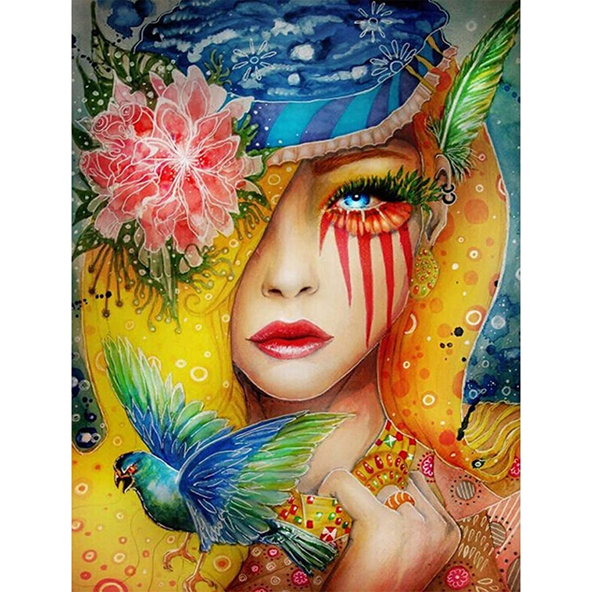 Ginfonr 5D Diamond Painting Kit Noble Lady Full Drill by Number Kits for Adults, Flower Women DIY Paint with Diamonds Art Colorful Girl Bird Rhinestone Craft Decor for Home (12x16 inch)