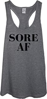 Sore AF Women's Funny Fitness Gym Workout Heather Grey Racerback Tank Top