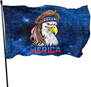 Bald Eagle Mullet 4th of July - Merica 3x5 FT American Flag, Outdoor Banner, Family Banner, Garden Banner Black
