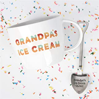 Josephine on Caffeine Gifts for Grandpa – Grandpa's Ice Cream Bowl and Engraved Spoon Grandpa's Ice Cream Shovel – Ideal or Birthday Gift