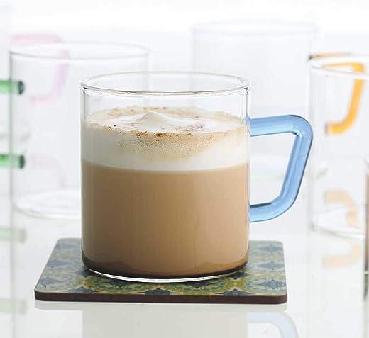 Borosil Vision Tea N Coffee Glass Mug Set of 6 - Microwave Safe, Blue Handle, 190 ml
