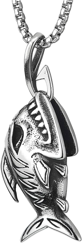 COOLSTEELANDBEYOND Shark Sharp Teeth Fish Skeleton Bone Pendant Necklace Steel Gothic Style, 30 inches Wheat Chain
