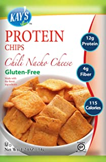 Kay's Naturals Protein Chips, Chili Nacho Cheese, Gluten-Free, Low Carbs, Low Fat, Diabetes Friendly All Natural Flavorings, 1.2 Ounce (Pack of 6)