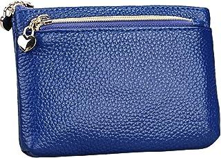 Geldbörse Damen Leder Mini Geldbeutel Portmonee mit Reißverschluss Kartenfächer Brieftasche für Münze Kleingeld Blau