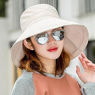 Ping BU Qing Yun Sombrero de Verano, Sombrero para el Sol Mujeres con protección UV Viaje de Playa Plegable con Borde Ancho, Flip Floppy, 5 Colores Opcionales Sombrero para el Sol (Color : Caqui)