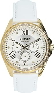 Versus By Versace VSPEB0318 Womens Gold Case White Leather Strap