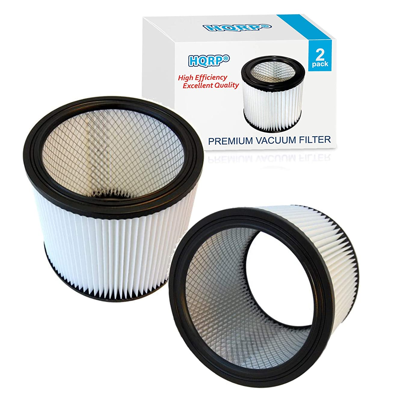 HQRP Cartridge Filter 2-Pack for Shop-Vac 90350 90304 90333 Replacement fits Wet/Dry Vacuum Cleaner