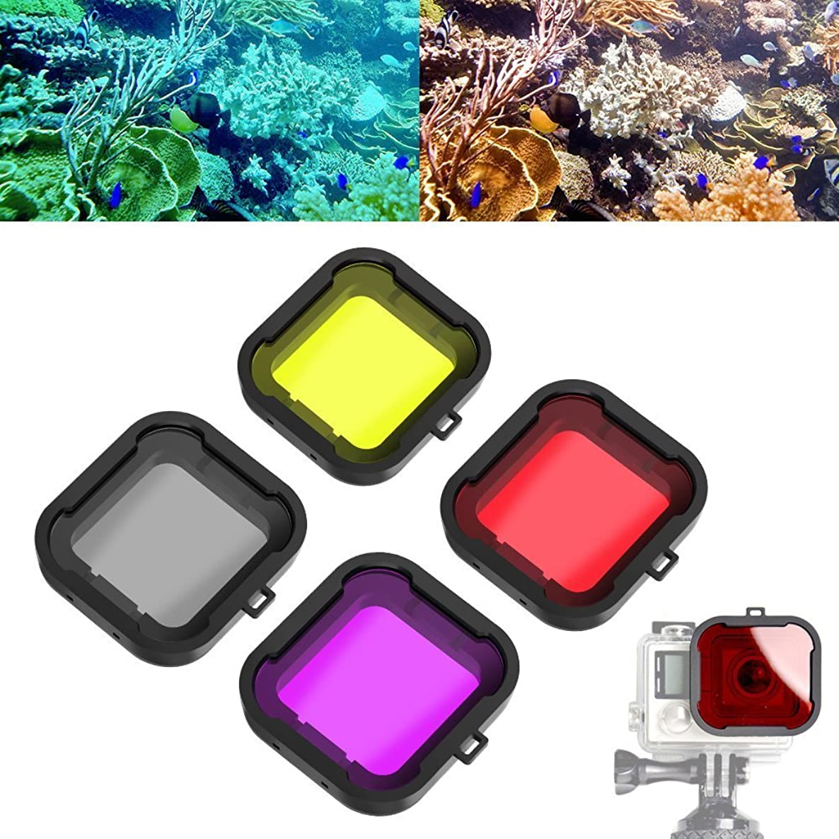 Williamcr 4 in 1 Water Sport Floating Dive Filter (Red + Yellow + Grey + Purple) For GoPro Hero 3+ 4 Standard Housing Color Correction Accessories with ABS Plastic frame, Professional Lens Filter oyoo5337746532