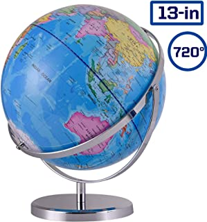 ZUEDA 13 Inch Cartography World Globe Revolution Geographic Globe| Desktop Political Globe for Kids & Teachers, Educational Gift