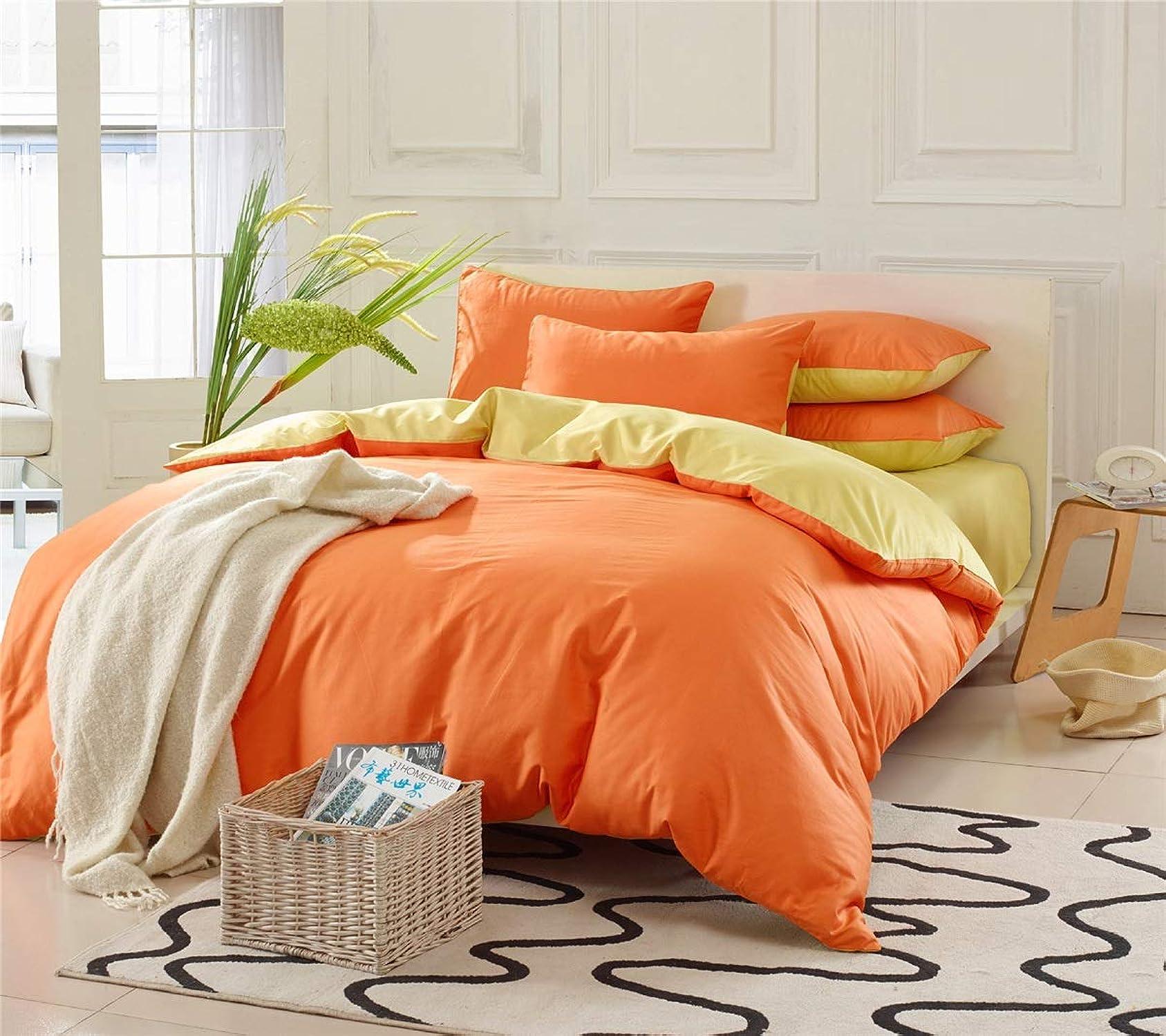 Couvre-lit de couleur unie en pur coton biCouleure couvre quatre ensembles. (Couleur   Orange, Taille   200x230)