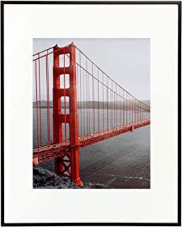 Frametory 11x14 Inch Matte Black Aluminum Metal Picture Frame and Real Glass with Ivory Color Mat for 8x10 Picture