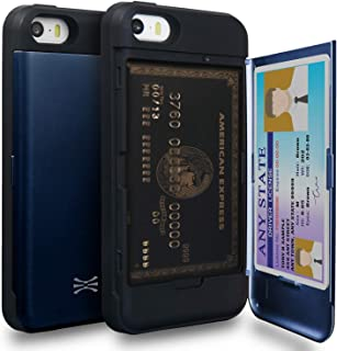 TORU CX PRO iPhone SE Wallet Case Blue with Hidden Credit Card Holder ID Slot Hard Cover & Mirror for iPhone SE/iPhone 5S ...
