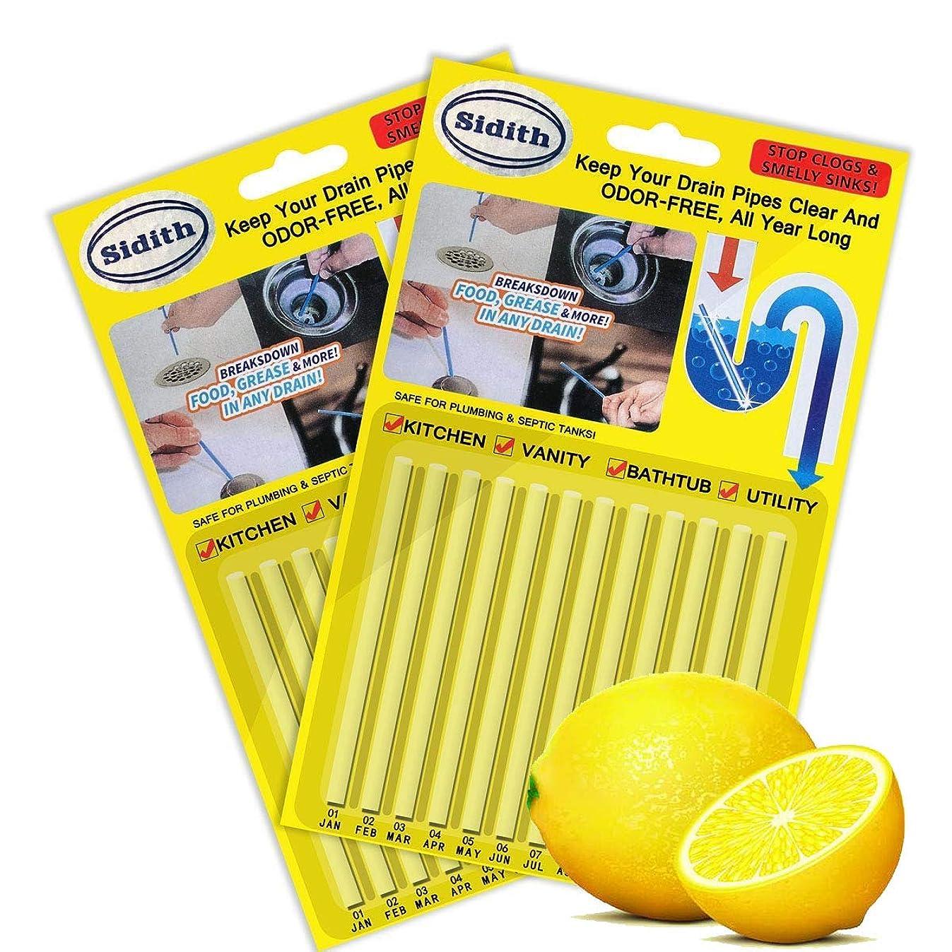 Sidith Drain Cleaner Sticks, Sink Deodorizer (24 Pcs), Sink Freshener to Keep Odor Free As Seen On TV for Bathroom, Kitchen, Toilet, Shower drain (Lemon)