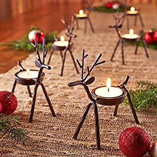 Asunflower Holidays Reindeer Tea Light Holder Set of 6 Christmas Tea Light Holder Table Candles Holder Metal Tea Light Stands for Table/Mantle/Fireplace