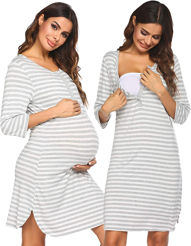 Ekouaer Women Delivery//Labor//Nursing Nightgown Hospital Maternity Gown//Birthing Sleepwear//Nightshirt Breastfeeding S-XXL