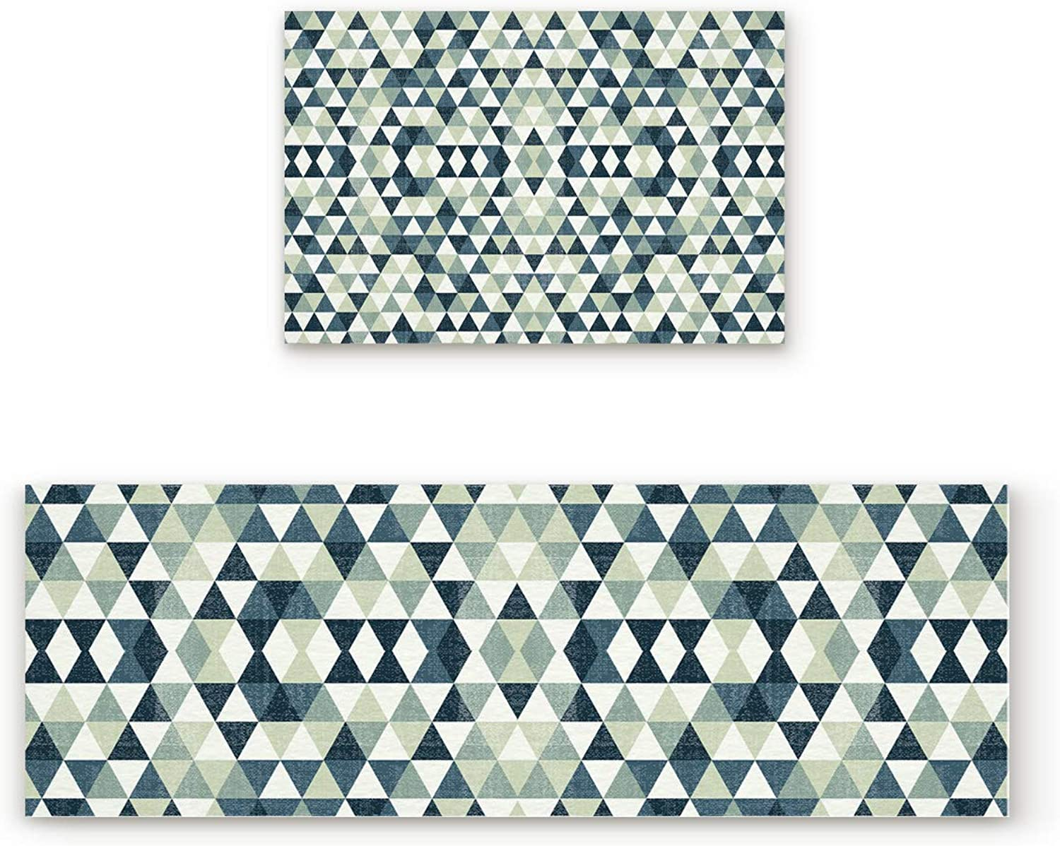 Aomike 2 Piece Non-Slip Kitchen Mat Rubber Backing Doormat Triangle Rhombus Geometric Pattern Runner Rug Set, Hallway Living Room Balcony Bathroom Carpet Sets (19.7  x 31.5 +19.7  x 63 )