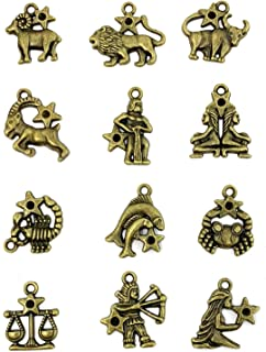 Zodiac Sign Charms Constellation Pendants Beads DIY for Necklace Bracelet Jewelry Making and Crafting, JIALEEY 4 Sets 48 PCS Antique Brass Bronze Vintage Style