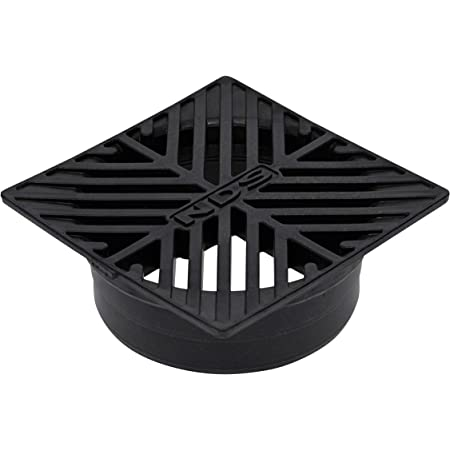 NDS 8 5 in. Square Grate Fits 4 in. Drain Pipes & Fittings, 5 in, Black Plastic