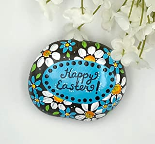 Happy Easter with Daisies Painted Rock