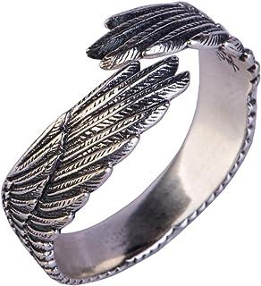 أجنحة الفضة الاسترليني خاتم السيدات خواتم الذكور والإناث ، قابل للتعديل في الحجم اليدوية ، نحت ثلاثي الأبعاد أفضل هدية للأ...