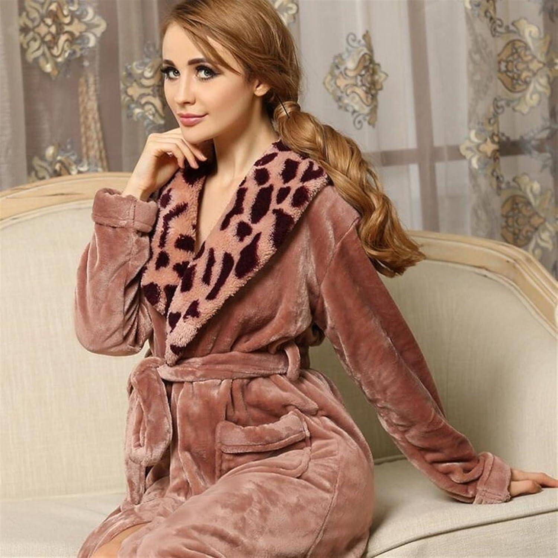 Soft Cozy Women's Winter Flannel Bathrobe Leopard Collar LongSleeved Nightgown Pajamas Bathrobe Bathrobe for Women (color   Pink, Size   XL)