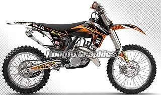 Kungfu Graphics Custom Decal Kit for 125 150 250 350 450 SX SX-F SXF XC XC-F XCF 2011 2012, Black White Orange, style 002
