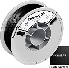 DURAMIC 3D PETG Printer Filament 1.75mm Black, 3D Printing Filament with Build Surface 200 x 200mm, 1kg Spool(2.2lbs), Dimensional Accuracy +/- 0.05 mm