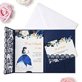 FEIYI 20pcs 3 Folds 5 x 7 inches Laser Cut Lace Flower Pattern Wedding Invitations Cards For Birthday Baby Shower Wedding Rehearsal Dinner Invites Birthday Invites