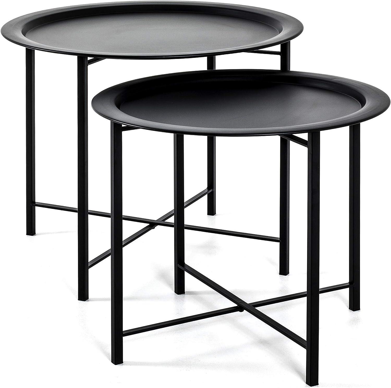 schwarz Stahlrohr H 44//49 x /Ø 52//62 cm HAKU M/öbel 2-Satz Tisch