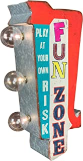"""Fun Zone Arrow Shaped LED Marquee Metal Sign, Play at Your Own Risk, 12"""" Double Sided, Battery Powered, Wall Decor for Home, Bar, Garage, Game Room, Arcade, or Man Cave"""
