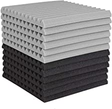 12 Pcs Acoustic Foam Board,Studio Wedge Tile,Acoustic Foam Soundproof Pyramid Studio Treatment Wall Panel 2.5X30X30cm Vacu...