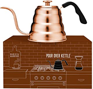 Copper Kettle with Thermometer for Exact Temperature – Copper Coated Gooseneck Pour..