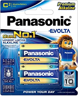 Panasonic EVOLTA Alkaline Battery, C, 2-pack