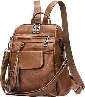 Artwell Women Backpack Purse PU Leather Convertible Ladies Rucksack Tassel Multi Pockets Shoulder Bag Casual Travel Bag