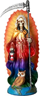 Pacific Giftware Santa Muerte Saint of Holy Death Standing Religious Statue 7.25 Inch Rainbow Tunic Seven Powers Santisima Muerte Sculpture