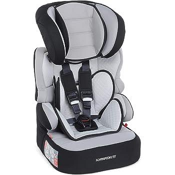 Foppapedretti Babyroad - Seggiolino Auto, Gruppo 1-2-3 (9-36 Kg) per Bambini da 9 Mesi a 12 Anni Circa, Nero Carbon