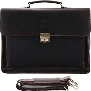 Mens Vintage Full Grain Leather Briefcases Fit 15.6 Inch Laptop Computer, Anti theft Messenger Bag for Work and Business (...