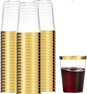 100 أكواب بلاستيكية ذهبية 354.88 مل أكواب بلاستيكية شفافة أكواب بحواف ذهبية فاخرة للاستعمال مرة واحدة لحفلات الزفاف أنيقة ...
