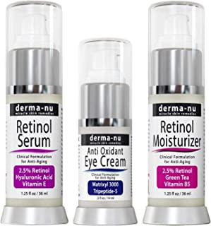Retinol Serum with Hyaluronic Acid Serum - Eye Cream and Retinol Moisturizer - Anti-Aging for Reducing Fine Lines & Wrinkles - Clinically Proven Skin Treatment for the Face - 3 pack