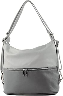 modamoda de - T189 - ital. Damen Rucksack Tasche 2in1 aus Leder