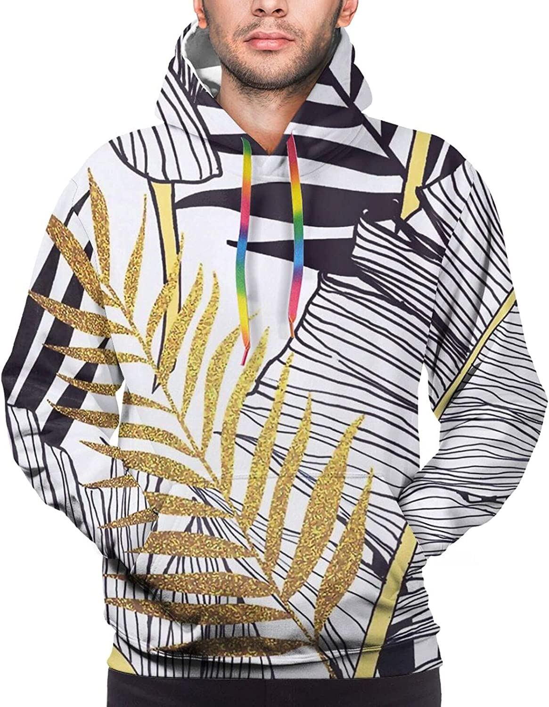 Hoodie For Mens Womens Teens Floral Gold Black Leaves Pullover Hooded Sports Sweatshirt