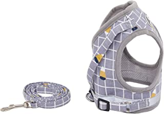 Fienveorn Dog Harness Step-in Breathable Puppy Cat Dog Vest Harness, Grey,S