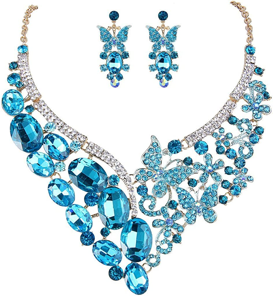 EVER FAITH Gold-Tone Rhinestone Crystal Butterfly Floral Vine Bridal Banquet Necklace Earrings Set