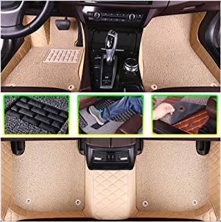 ALLYARD Custom Car Floor Mats for Mercedes-Benz GLE Class 350 450 320 400 500 2015-2019 All Weather Full Covered Protection Double Layer Leather Floor Liner Beige and Beige