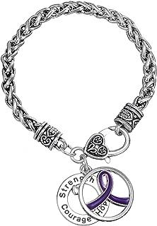 Violet Ribbon Cancer Survivor Strength Courage Hope Pendant Awareness Bracelet for Women
