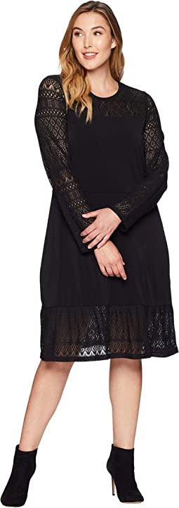 Plus Size Fabric Mix Long Sleeve Dress