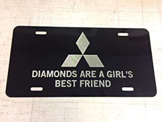 Diamond Etched Mitsubishi Diamonds Car Tag on Black Aluminum License Plate