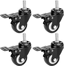 Hausee 4 x zwenkwielen met 2 remmen, zwenkwielen, draagkracht 400 kg, 50 mm, zwart (3)
