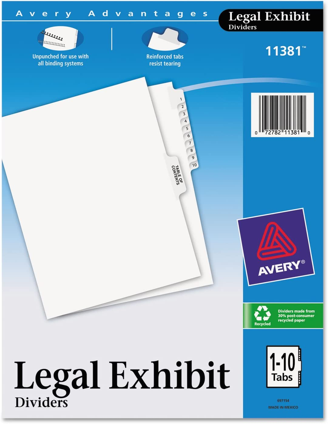 Avery 11381 Index Divider 1-10 w Table Content x8-1 of sold out 11-Inch Max 70% OFF 2