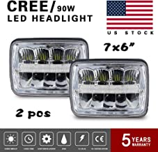 Globled 7x6 CREE LED Headlight Assembly High/Low Sealed Beam Projector DOT Approved DRL Headlamp for Ford Chevy Express Cargo Van 1500 2500 3500 F550 F600 F650 F700 F750, 2Pcs